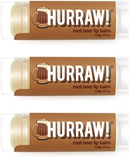 product image for Hurraw! Root Beer Lip Balm, 3 Pack: Organic, Certified Vegan, Cruelty and Gluten Free. Non-GMO, 100% Natural Ingredients. Bee, Shea, Soy and Palm Free. Made in USA