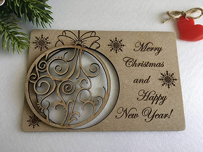 christmas wooden greeting cards personalized names laser cut wood filigree ornament xmas gifts engraved holiday hanging