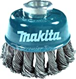 Makita® 1 Piece - 3 Inch Knotted Wire Cup Brush For Grinders - Heavy-Duty Conditioning For Metal - 3 x 5/8-Inch | 11 UNC | 0.020 Thick Wire