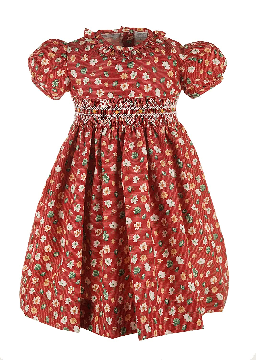 1930s Childrens Fashion: Girls, Boys, Toddler, Baby Costumes Carriage Boutique Girls Red Waisted Yoke Dress - Floral Winter Short Sleeve $56.00 AT vintagedancer.com