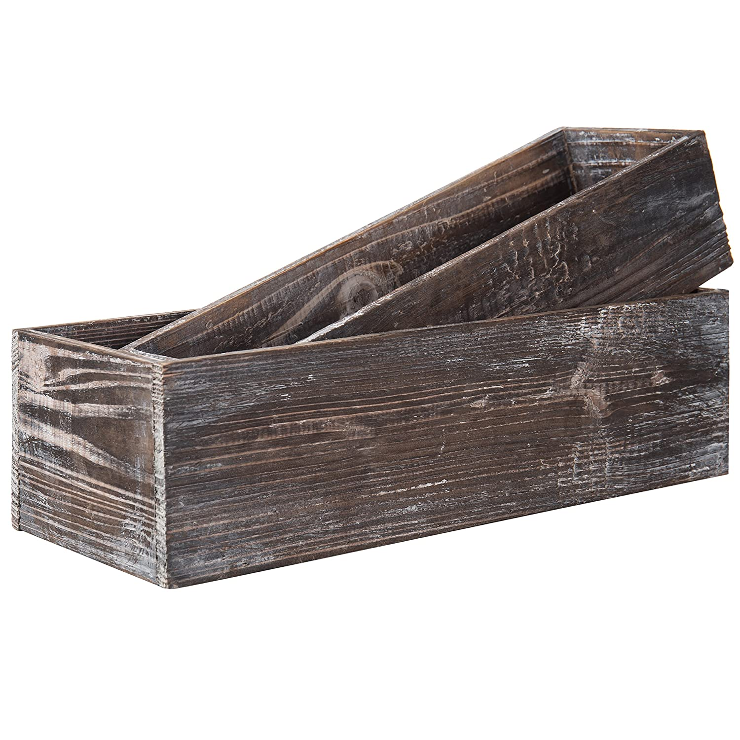 MyGift Country Rustic Brown Wood Nesting Succulent Planters, Windowsill Flower Pots, 2-Piece Set