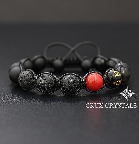 0c7fdcb5a3e Red Spot, Mens Natural Stone Lava Rock Beaded Bracelet, Gemstone Shamballa  Wrap Bracelet, Black Onyx, Tibetan Mantra Om Mani Padme Hum, Gift for Him,  ...