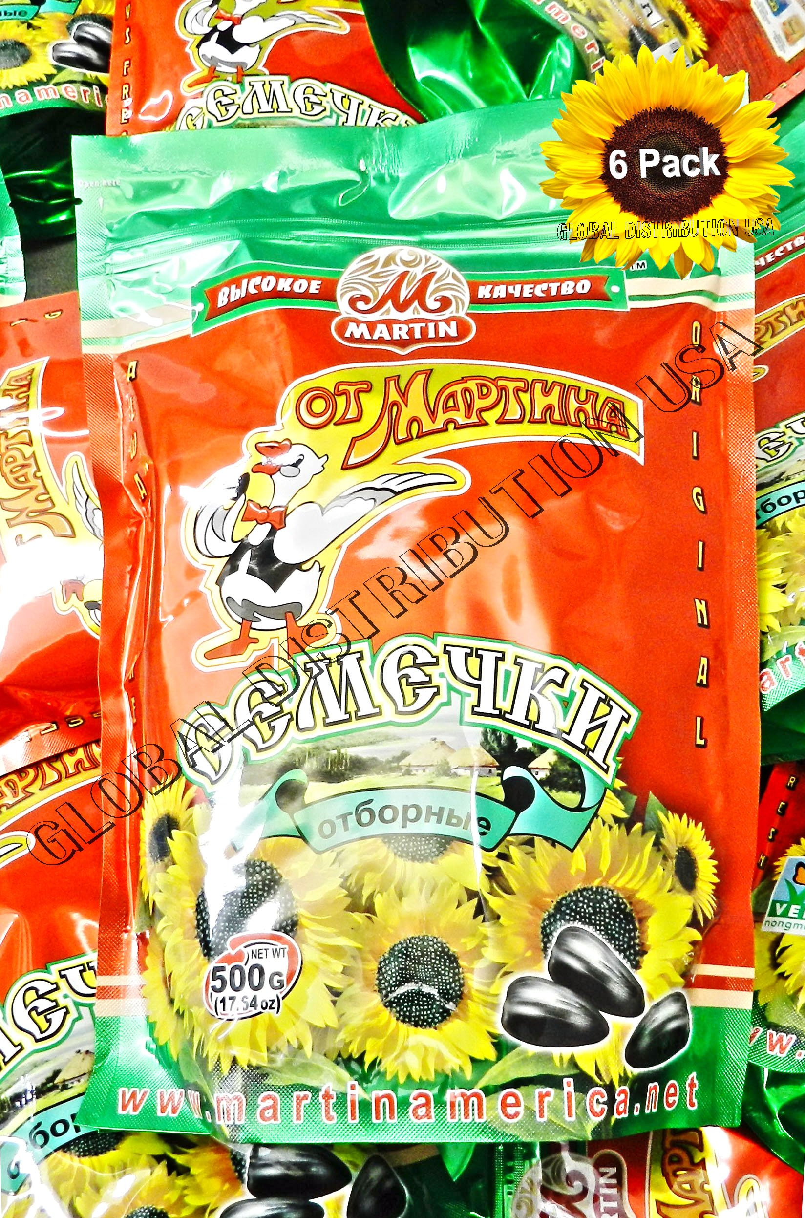 Premium Roasted Sunflower Seeds by Mr.Martin (Ot Martina) Unsalted Non-GMO 500G Pack of 6