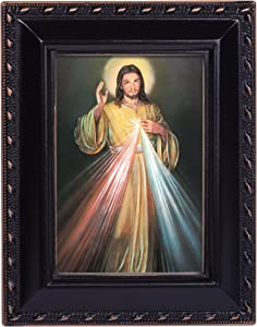 Cottage Garden Divine Mercy Painting of Jesus Black Rope Trim 2 x 3 Tiny Frame with Magnet and Easel
