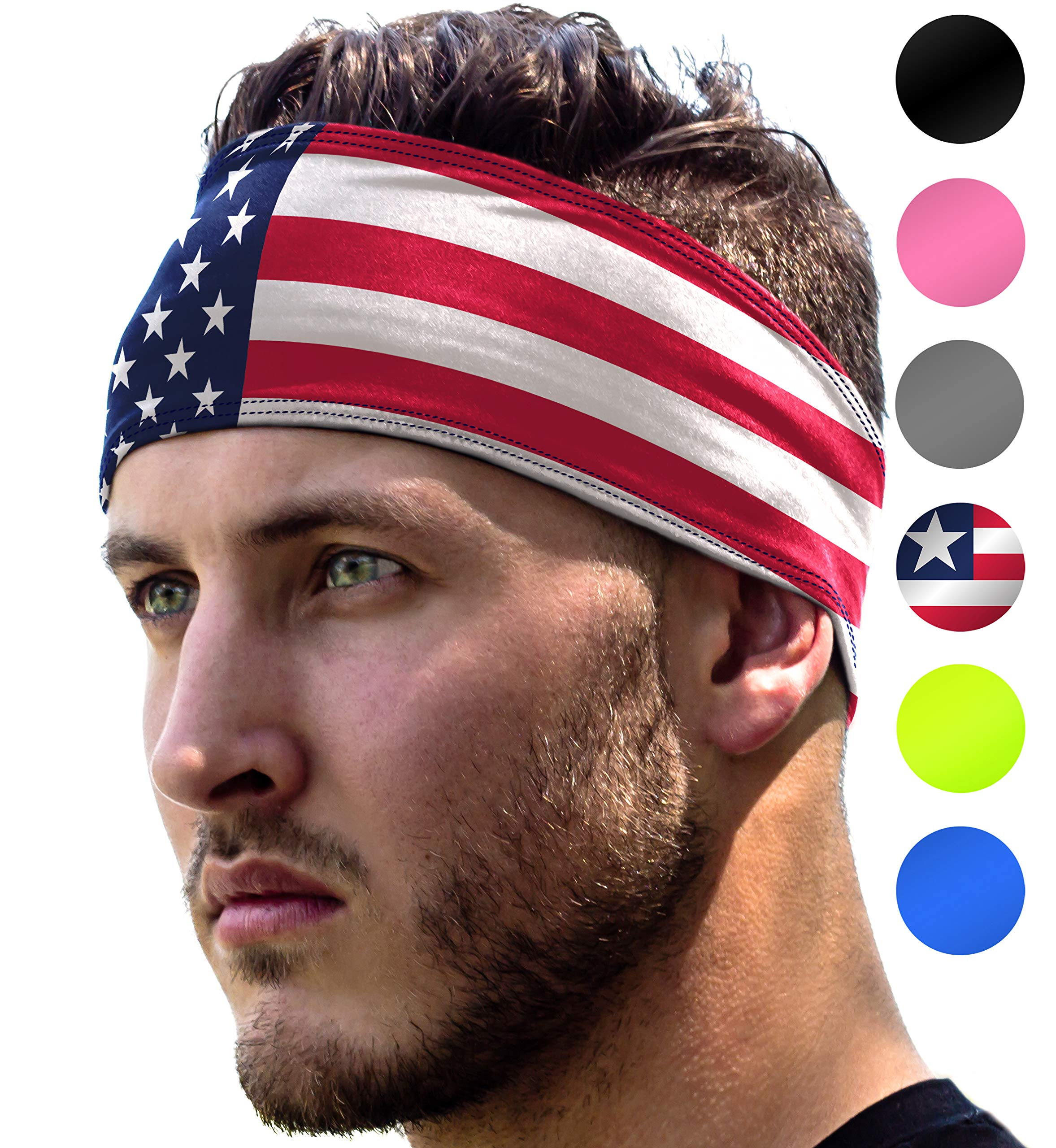 Workout Headband: Unisex Fitness USA Flag Headbands for Women & Men. 4th of July US Head Band Sweatband 4 Running, Yoga, Gym Exercise. Sport Sweatbands & Sweat Wicking Athletic Party Head Wrap Bands by E Tronic Edge