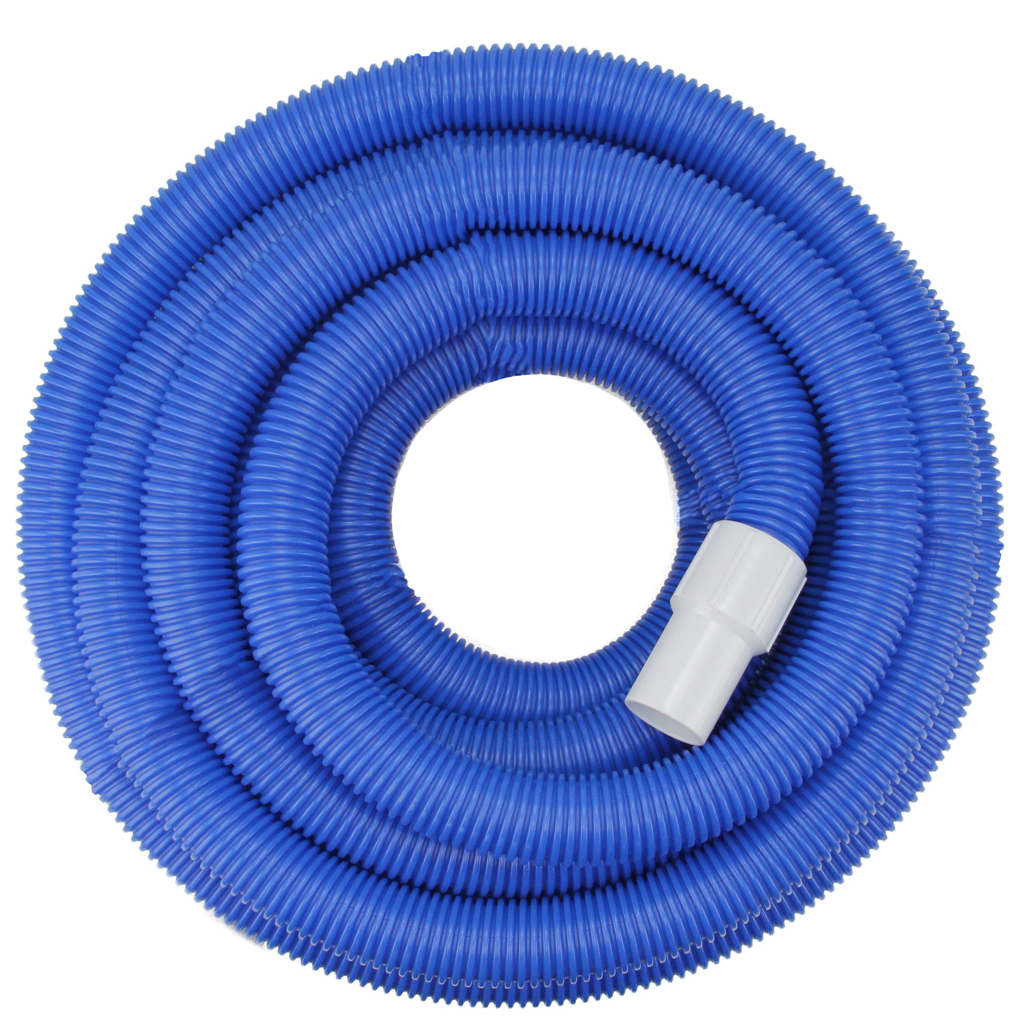Blue Blow-Molded PE In-Ground Swimming Pool Vacuum Hose with Swivel Cuff - 100' x 1.5''