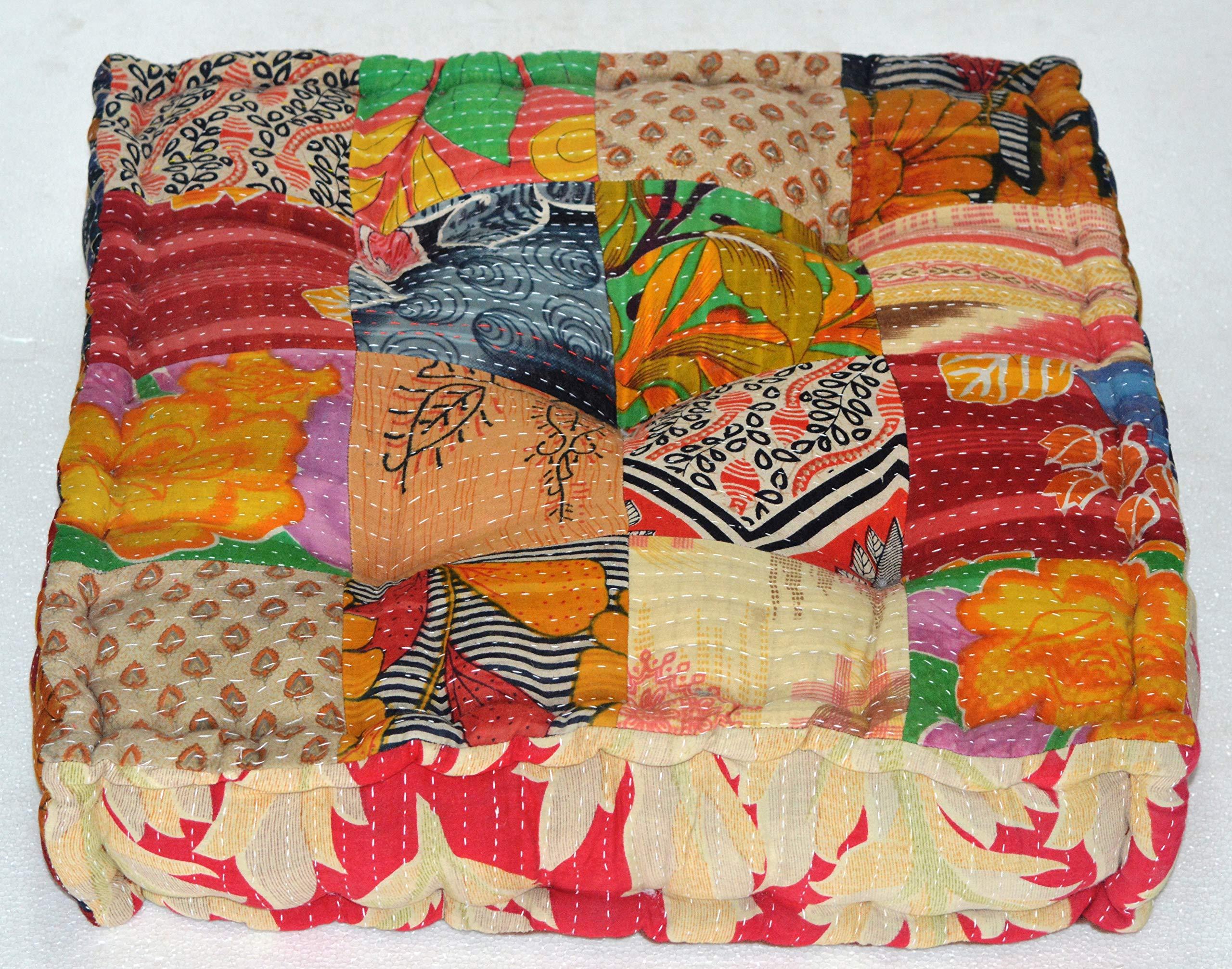 MARUDHARA RANGILA Stuffed Indian Vintage Kantha Patch Floor Cushion; Pouf Ottoman; Floor Pillow Yoga Pillow 16 Patch