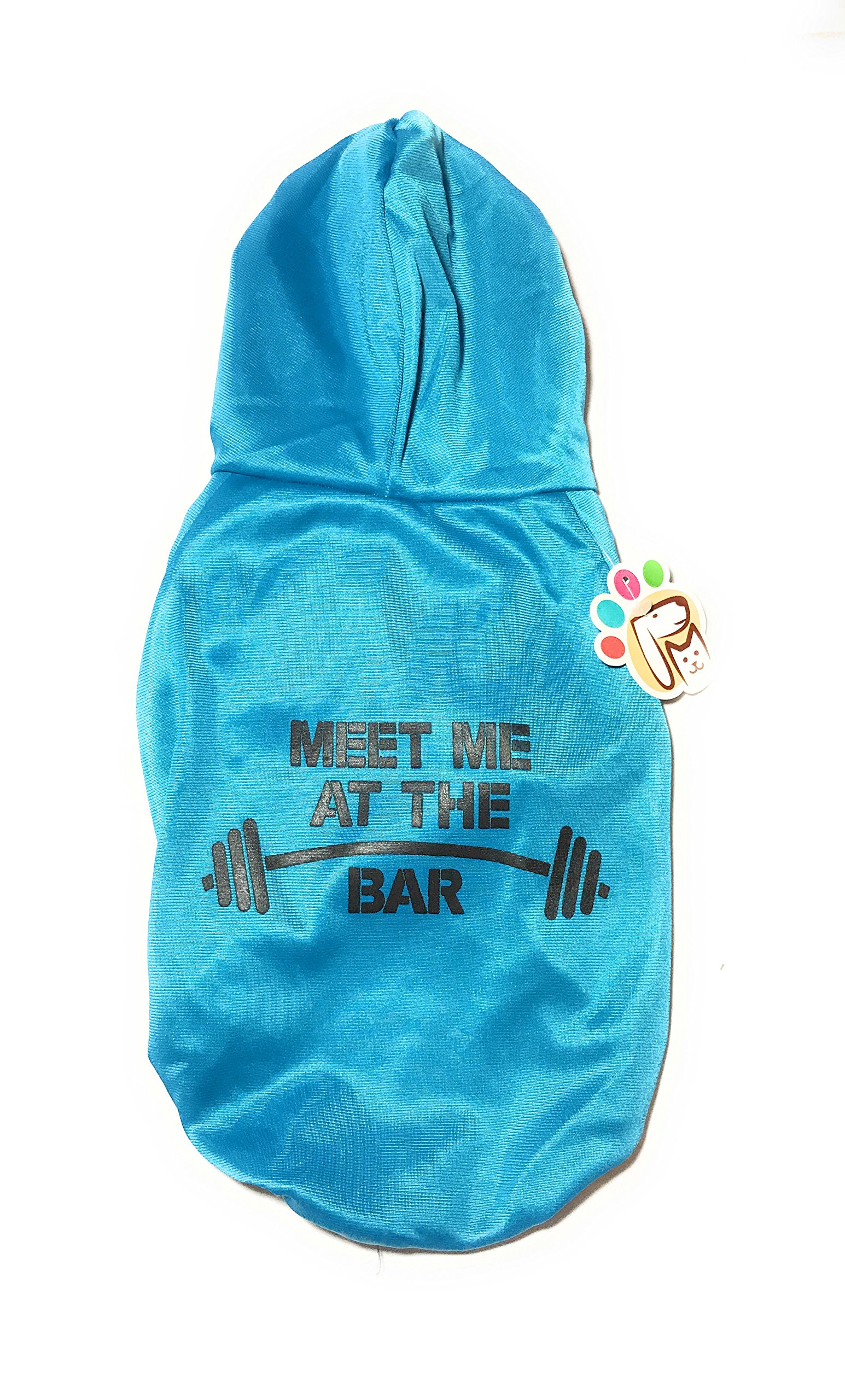 Dog or Puppy Sweater Hoodie ´Meet Me At The Bar´ Blue for Medium or Large Pets L size/ Large Fashion and Funny Hoodie Shirt Petmont Brand For Boys Or Girls
