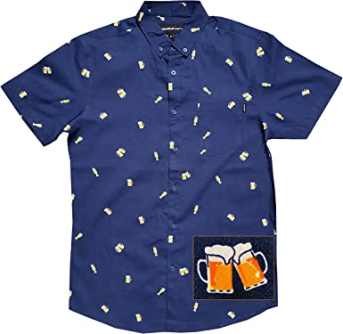 Sebaby Mens Nightclub Style Classic Shirt Bright Color Button Blouse Tops