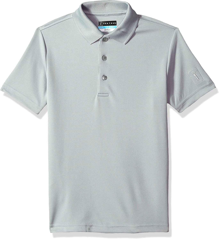 PGA TOUR Boys Short Sleeve Airflux Solid Polo Shirt: Clothing