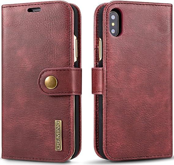 Étui portefeuille en cuir avec porte-cartes amovible et fermeture magnétique pour iPhone/Samsung
