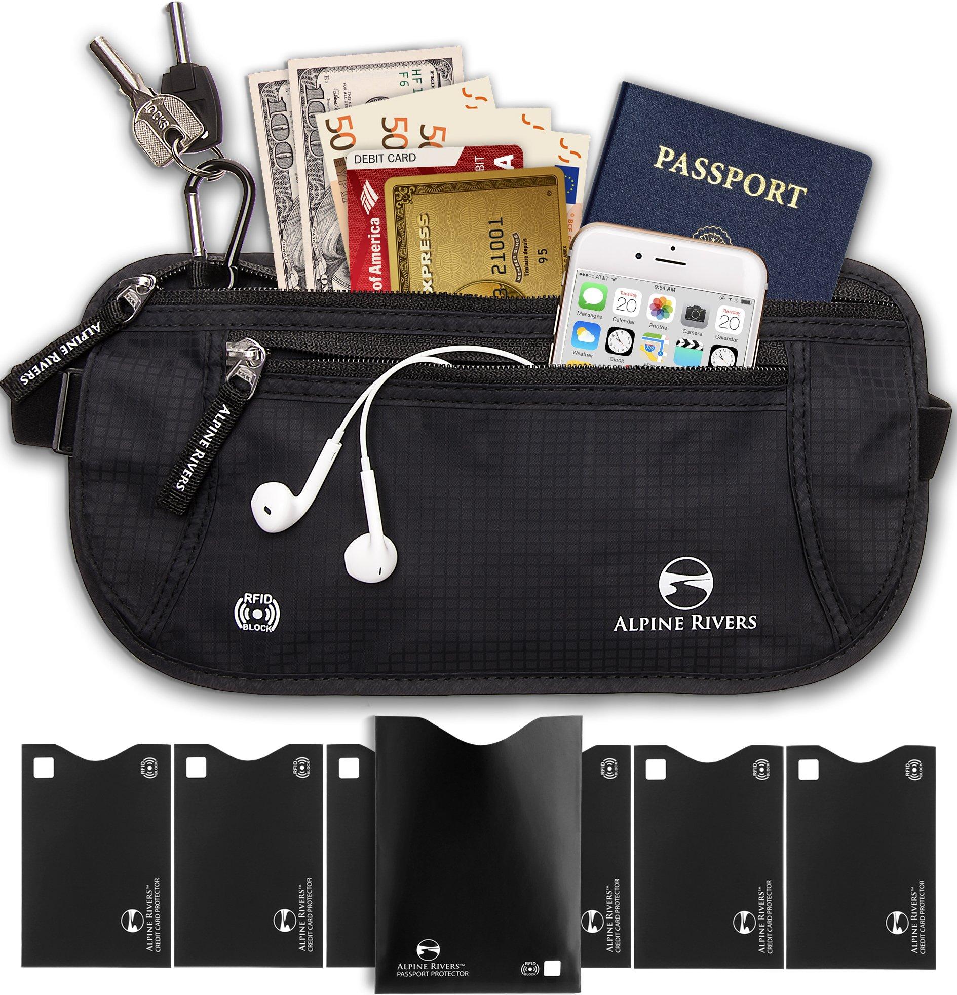 Money Belt - RFID Blocking Hidden Travel Wallet with 7 Bonus Sleeves by Alpine Rivers