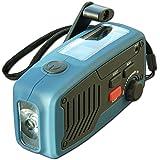 Powerplus Panther tragbares Solarradio Dynamoradio mit integrierter Taschenlampe Handyladefunktion und Ladegerätblau