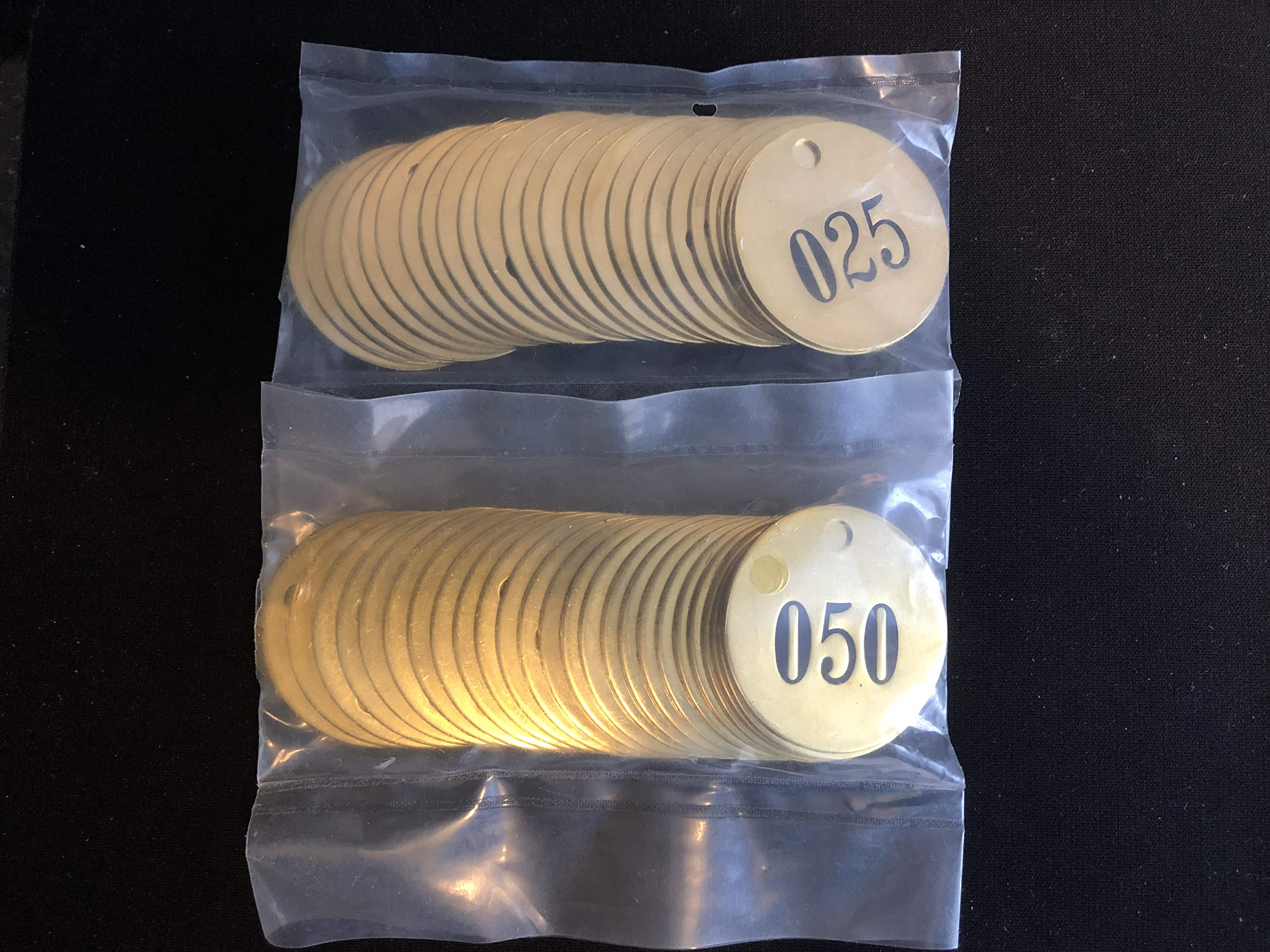 Numbered 1-1/2'' Solid Brass Round Valve Tags 1-50 by GRAINGER APPROVED