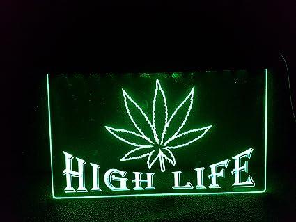 High Life Leuchtschild Led Neu Schild Laden Reklame Neon Neonschild