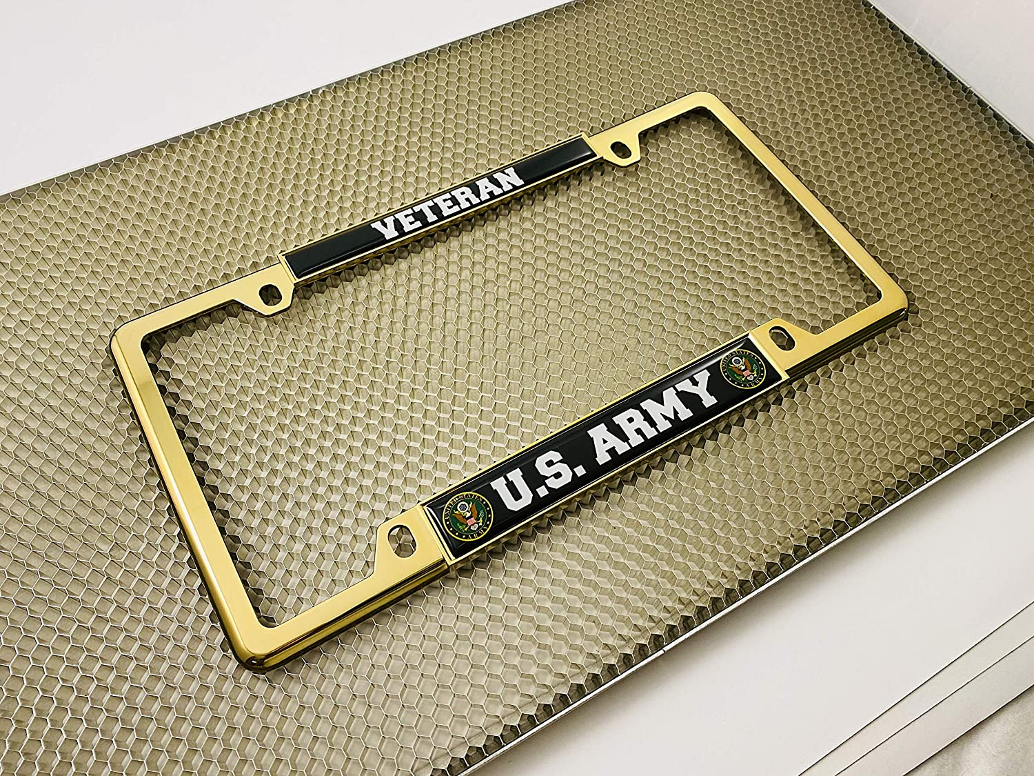 Top 4 Hole Metal Car License Plate Frame with Free caps U.S Thin Domed Custom-Made Personalized Narrow Army Veteran Chrome
