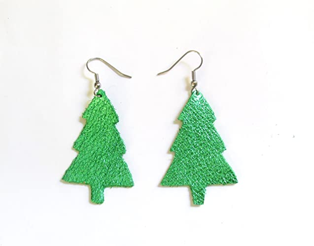 christmas tree earrings holiday earrings recycled leather