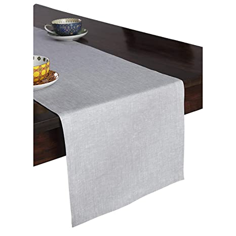 4884a46f2f6e8 Solino Home 100% Pure Linen Table Runner – 14 x 90 Inch, Tesoro Runner,  Natural and Handcrafted from European Flax – Light Graphite
