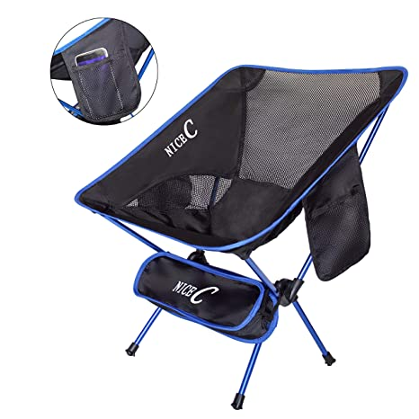 NiceC Camping Chair Ultralight Portable Folding with Two Storage bags and  Carry Bag Compact & Heavy - Amazon.com : NiceC Camping Chair Ultralight Portable Folding With