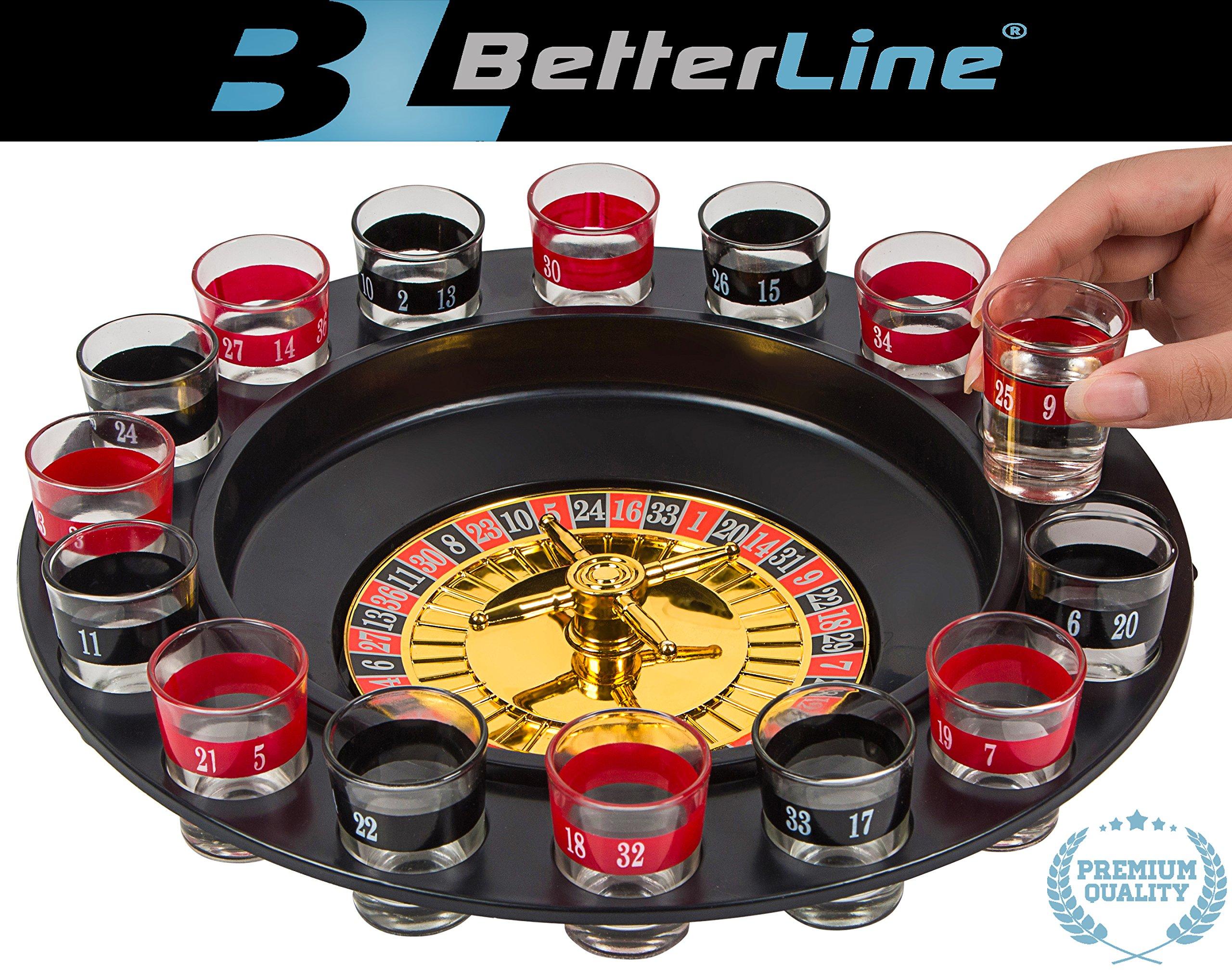 BETTERLINE Shot Glass Roulette Drinking Game Set Spinning Wheel, 2 Balls 16 Shot Glasses by BETTERLINE