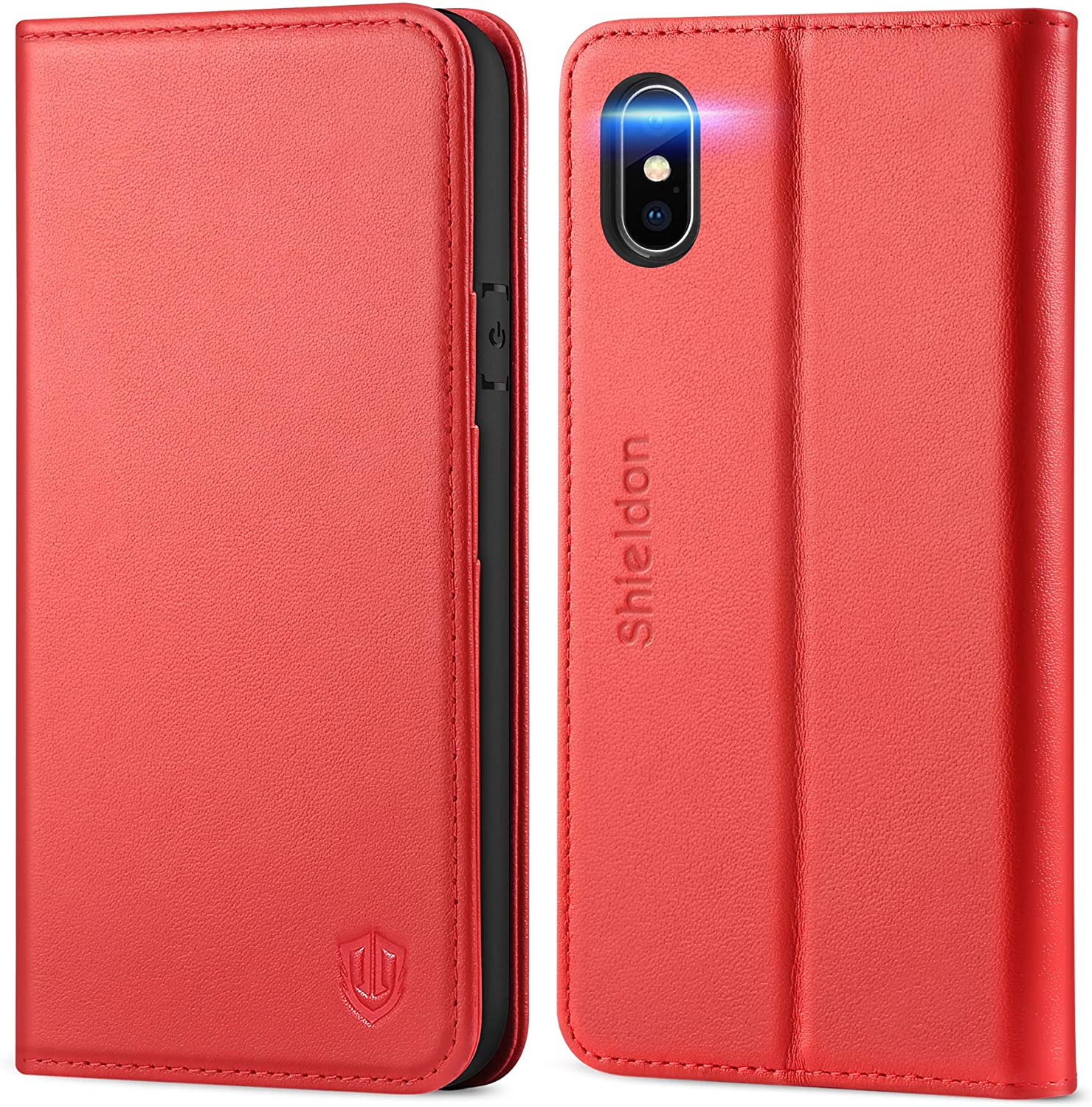 SHIELDON iPhone Xs Case, iPhone Xs Wallet Case Flip Book Cover Design with Auto Sleep Wake Kickstand Function and Credit Card Slot RFID Blocking Magnetic Closure Compatible with iPhone Xs - Red
