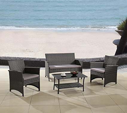 amazon com modern outdoor garden patio 4 piece seat gray rh amazon com modern black wicker outdoor furniture modern wicker garden furniture