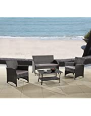 Modern Outdoor Garden, Patio 4 Piece Seat - Gray, Espresso Wicker Sofa Furniture Set