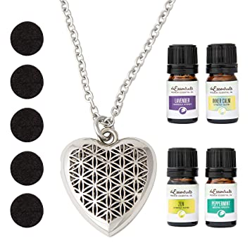 bbbdc88c258 mEssentials Heart Essential Oil Diffuser Necklace Gift Set - Includes  Aromatherapy Pendant, 24