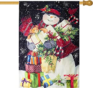 Besslly Christmas Garden Flag 28 x 40 Double Sided House Flag Winter Snowman with Red Scarf Gift Box Snowflake Seasonal Christmas Decorations Outdoor Yard Flags Gifts