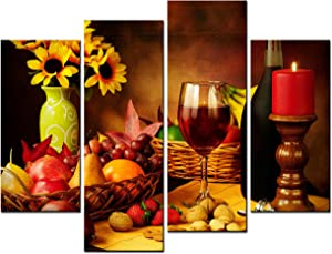 SmartWallArt - Food Paintings Wall Art Fruit and Red Wine Beside Candlestick 4 Pieces Picture Print on Canvas Painting Stretched and Framed on Wooden Frame