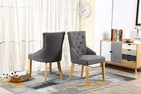WestWood Furniture Set Of 6 Premium Grey Linen Fabric Dining Chairs Scoop  Button Back With Solid
