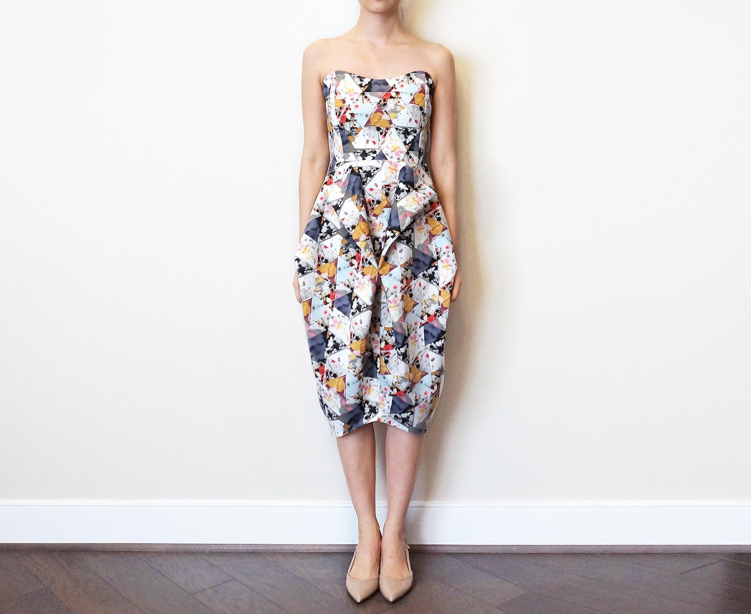 Women's Geometric Print Strapless Dress