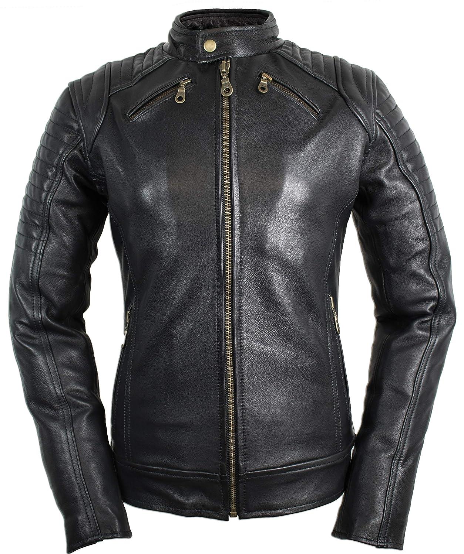 M Damen Motorradjacke mit Protektoren in schwarz
