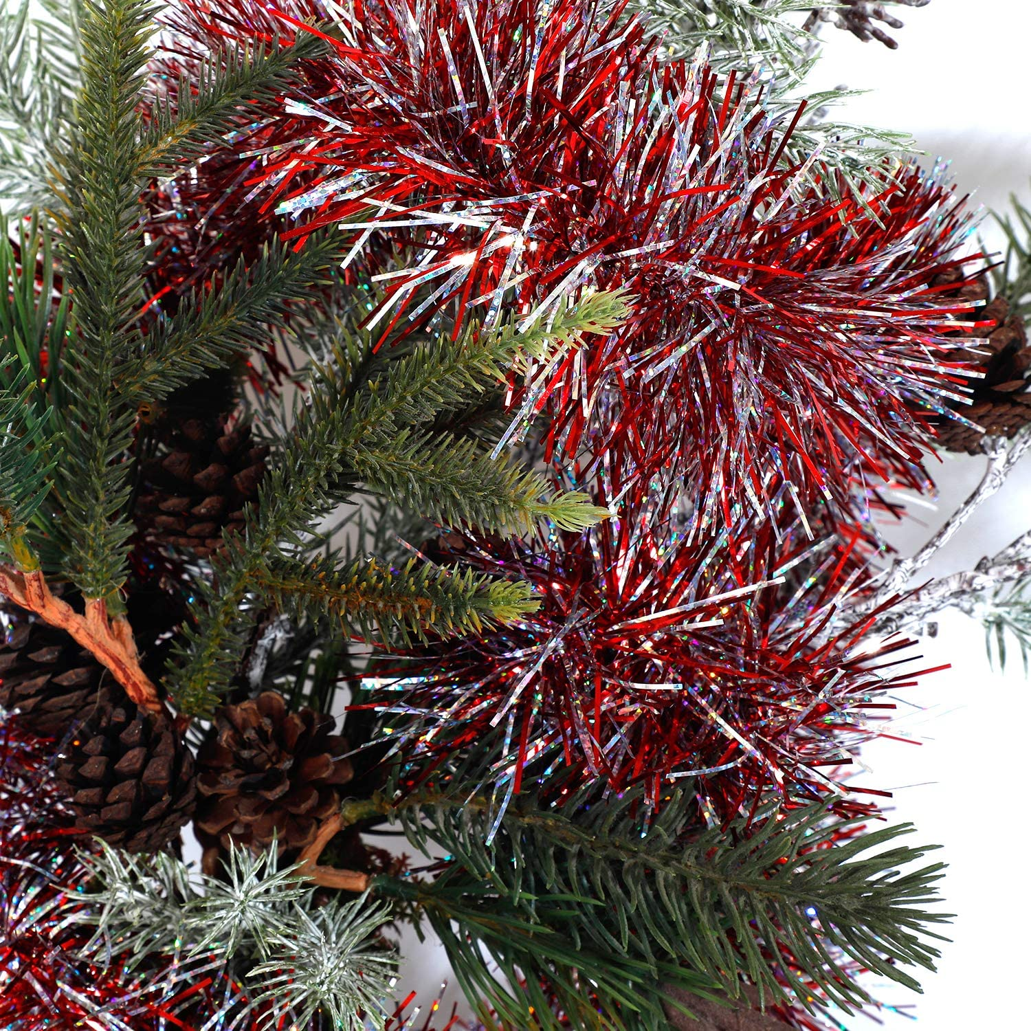 Christmas Tree Ornaments Home Party Classic Shiny Sparkly Ceiling Hanging Decorations,3.6 inch Wide Filaments Red. Alonsoo 3Pcs x 6.6ft Christmas Tinsel Garland