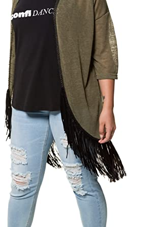 d10b5561600 Studio Untold Women s Plus Size Fringe Cardigan 718178 at Amazon Women s Clothing  store