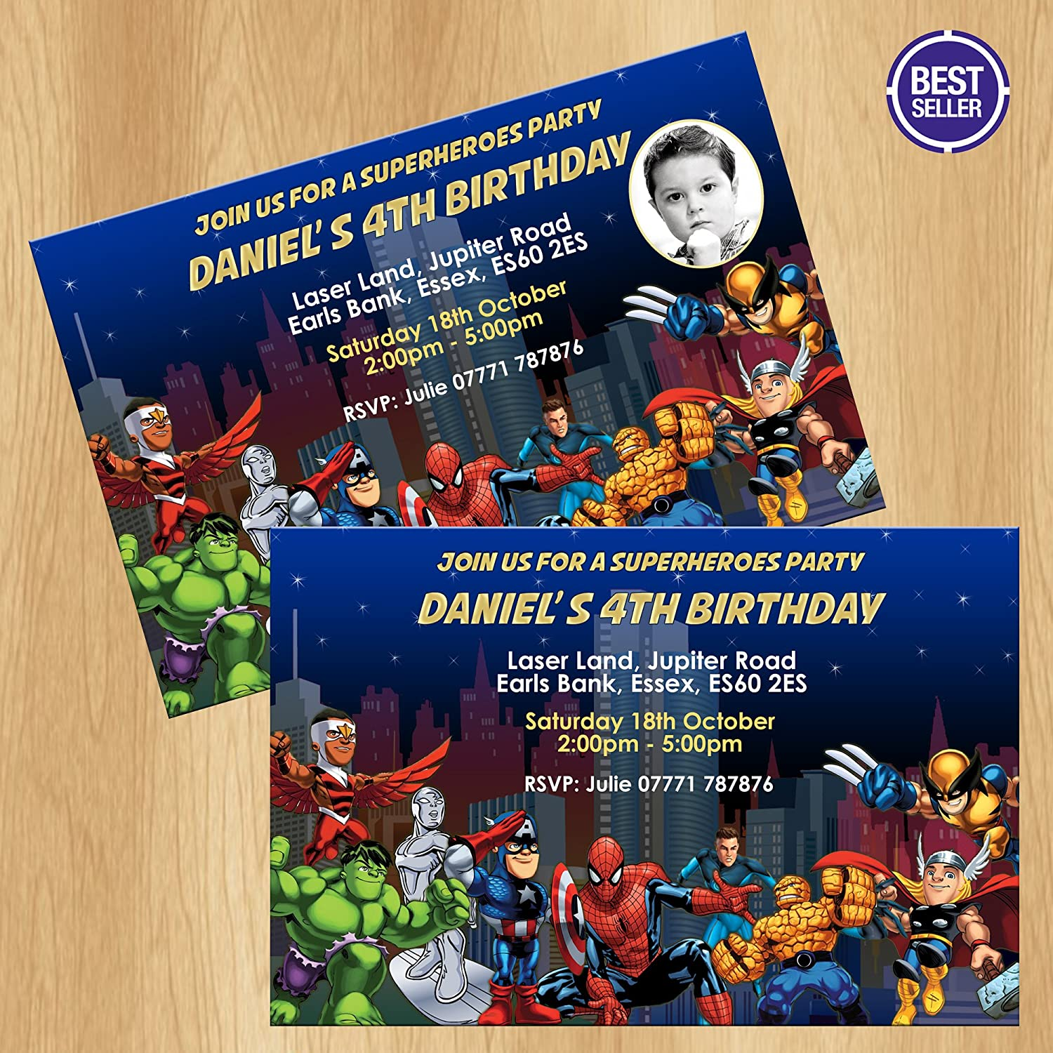 Avengers Superhero Party Invitations Personalised Invites: Amazon.co ...