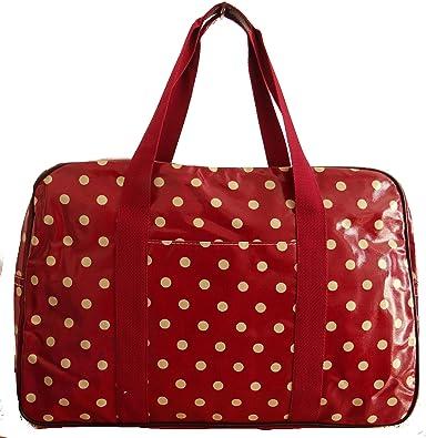 af89a970c3ba Gossip Girl - Oilcloth PVC Holdall Weekend Travel Cabin Bag Luggage  Overnight Bag 31L - Polka Dot Spot Dottie Floral   Flower (Polka Dot - Berry  Red)  ...