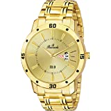 Buccachi Golden Dial Day & Date Functioning Water Resistant Gold Color Stainless Steel Strap Bracelet Watch for Men/Boys (B-G5073-GL-GL)