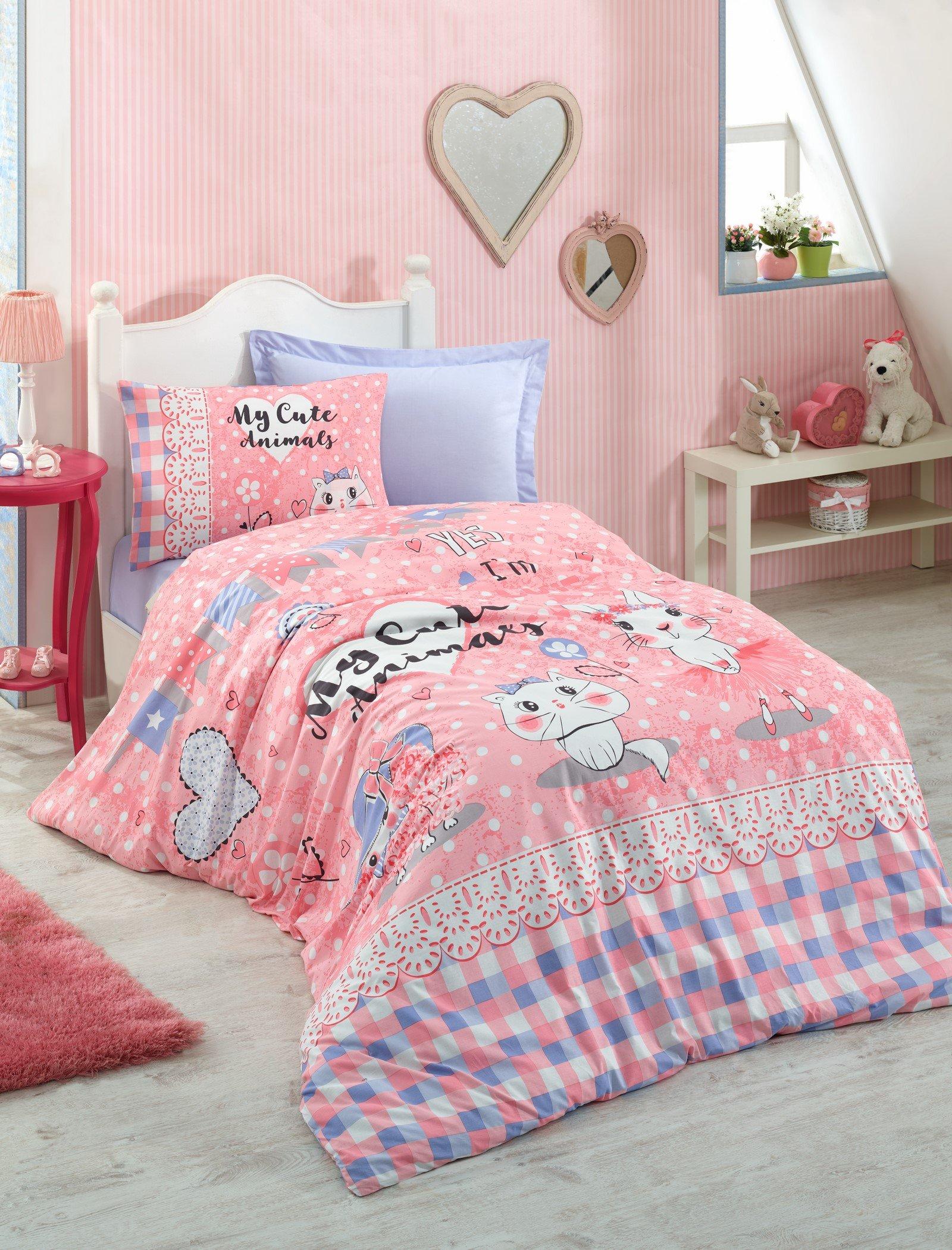 DecoMood 100% Cotton Animals Bedding, Heart Cats Kitty Kitten Themed Single/Twin Size Duvet Cover Set, Pink (3 Pcs)