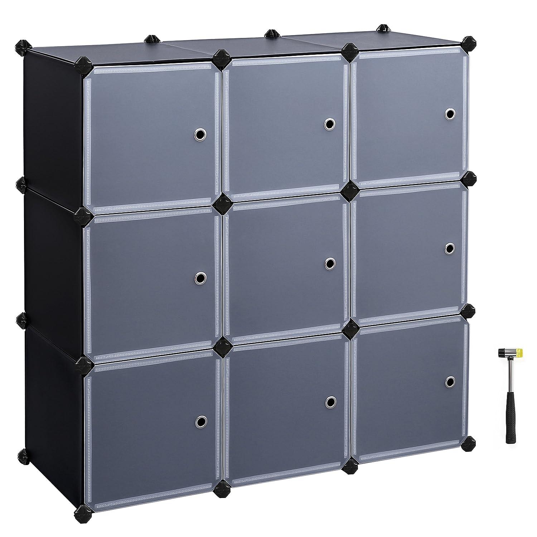 SONGMICS 3 Tier DIY Storage Cube Organizer Closet 9 Cube Bookcase Cabinet  With Door