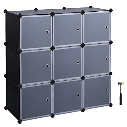 SONGMICS Storage Cubes, Plastic Cube Organizer, DIY Modular Closet Cabinet,Bookcase,  With