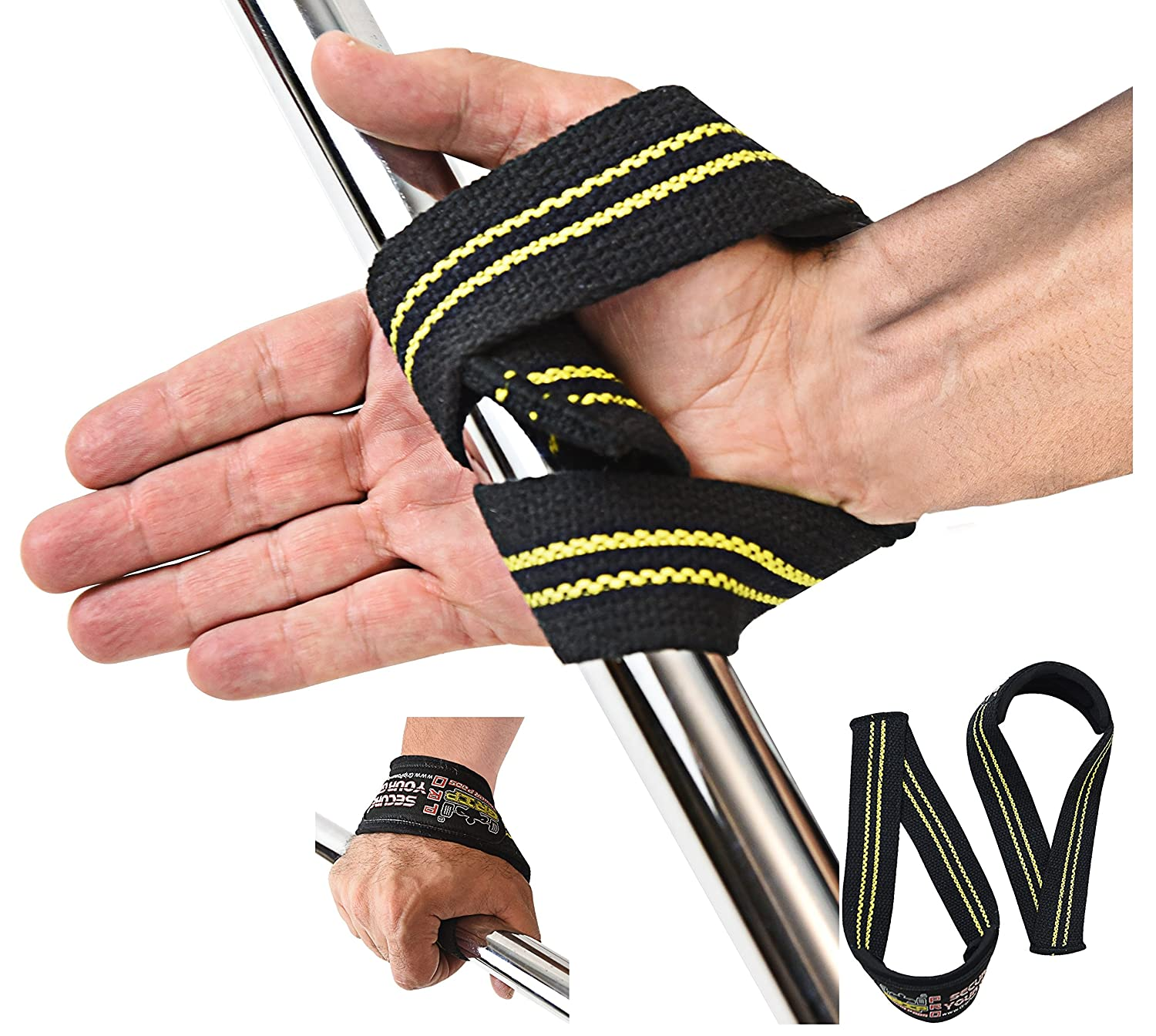 Triangle Lifting Straps Heavy Duty Neoprene Padded Pair Cotton Wrist Wraps Grip