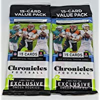 $28 » Pair 2020 Chronicles NFL Football 15-Card Value Fat Cello Packs (30 Cards Total)