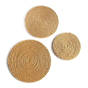 "CVHOMEDECO. Rustic Hemp Rope Round Disc for Wall Hanging, Indoor DIY Wall Art Sculptures for Home, Office and Hotel Primitive Country Style Décor. Set of 3, 12""/10""/8"""