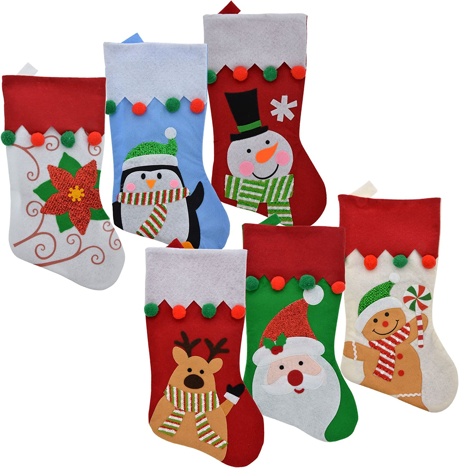 Set of 8 Pack Christmas House Polyester Character Stockings with Striped Cuffs