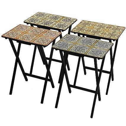 Amazoncom Oriental Furniture Victorian Tile Tv Tray Set Stand