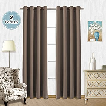 brown blackout curtains. Vangao Brown Blackout Curtains 2 Pieces 52\u0026quot;Wx84\u0026quot;L Room Darkening Thermal Insulated Solid