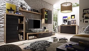 Trendteam Smart Living Wohnwand Mit Sideboard Dunkelbraun  Touchwood/Nussbaum Satin