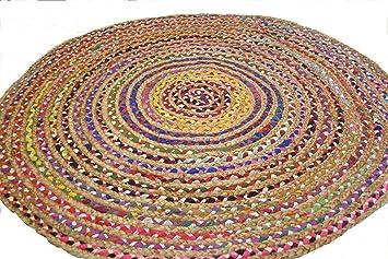 Amazon De Fair Trade Gross Rund 120 Cm Bunten Matte Recyceltem