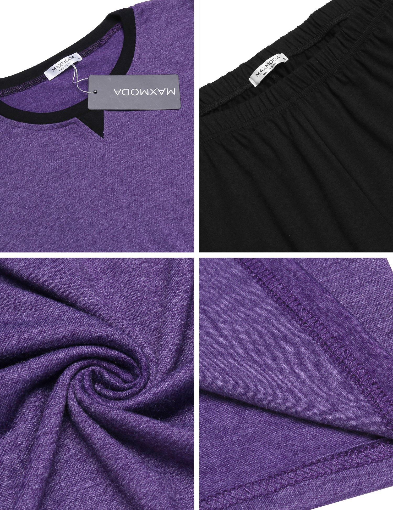 MAXMODA Soft Pajamas Long Sleeve Sleepwear Soft PJ Set with Pants Purple L by MAXMODA (Image #6)